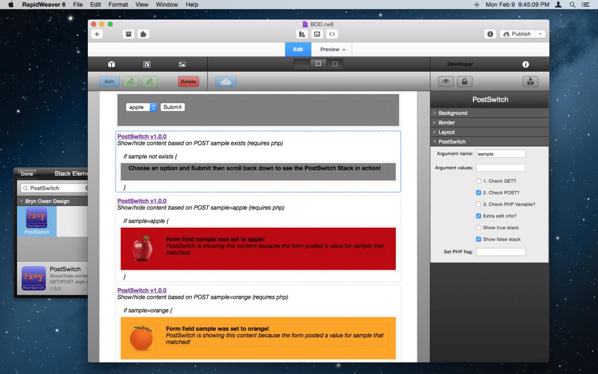 PostSwitch Stack screenshot