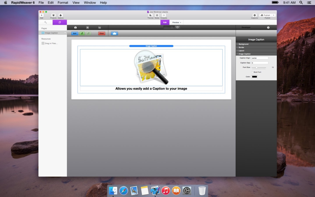 Image Caption screenshot