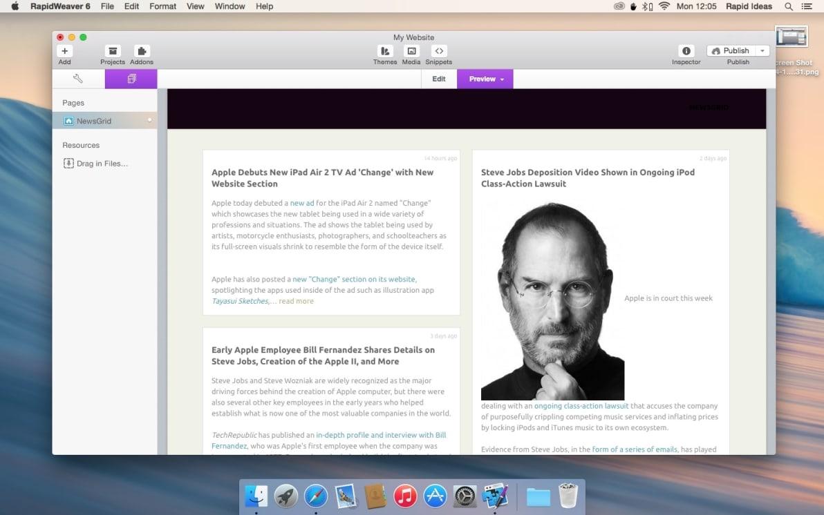 News Grid screenshot
