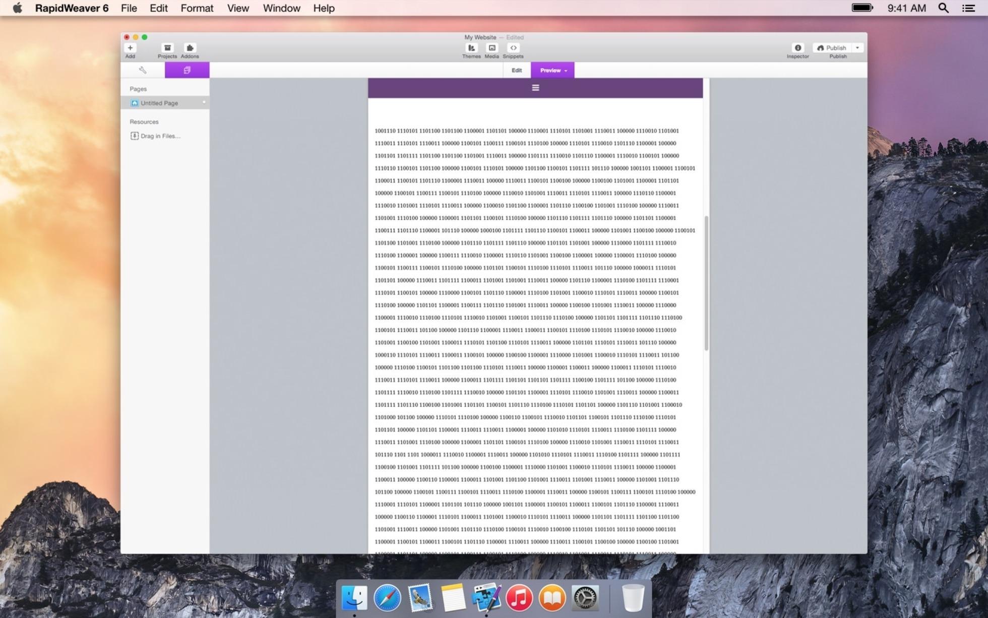 Binary screenshot