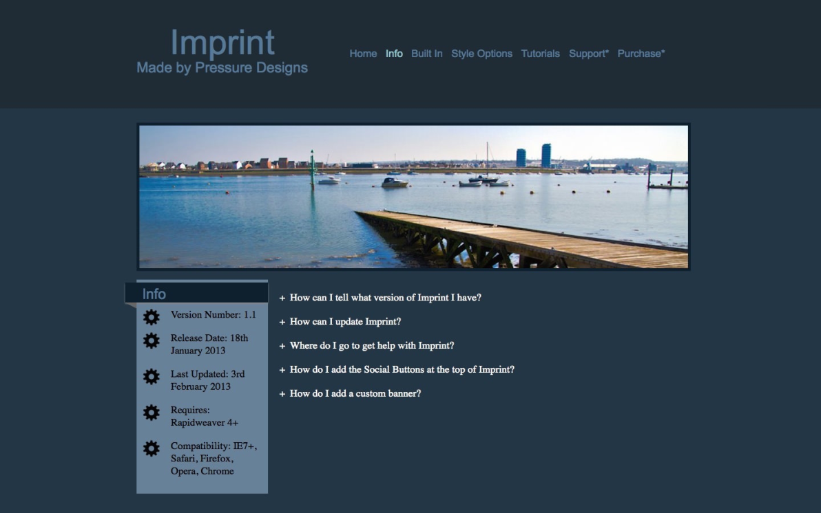 Imprint screenshot