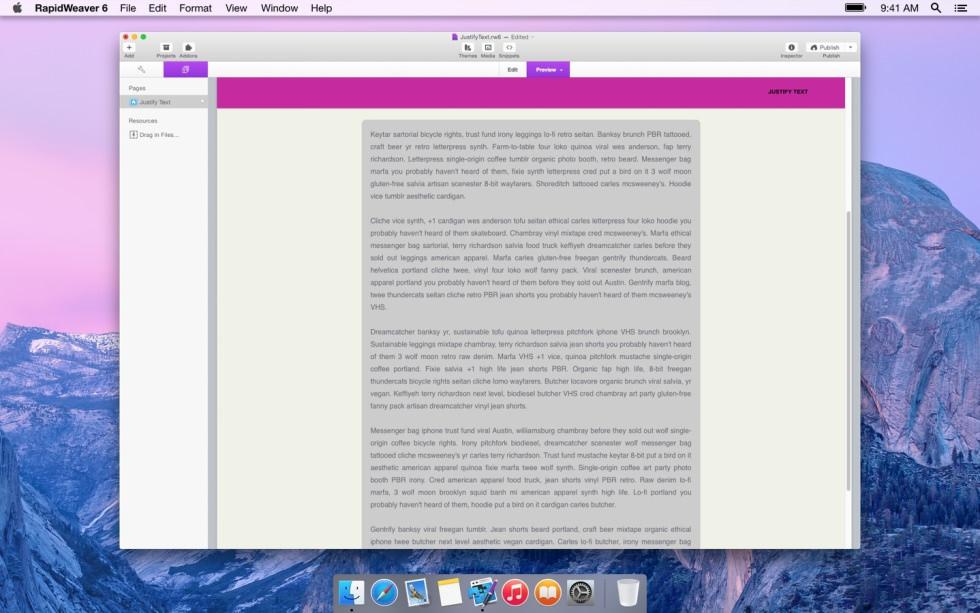 Justify Text screenshot