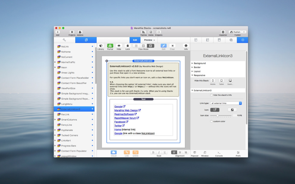 ExternalLinkIcon Stack screenshot