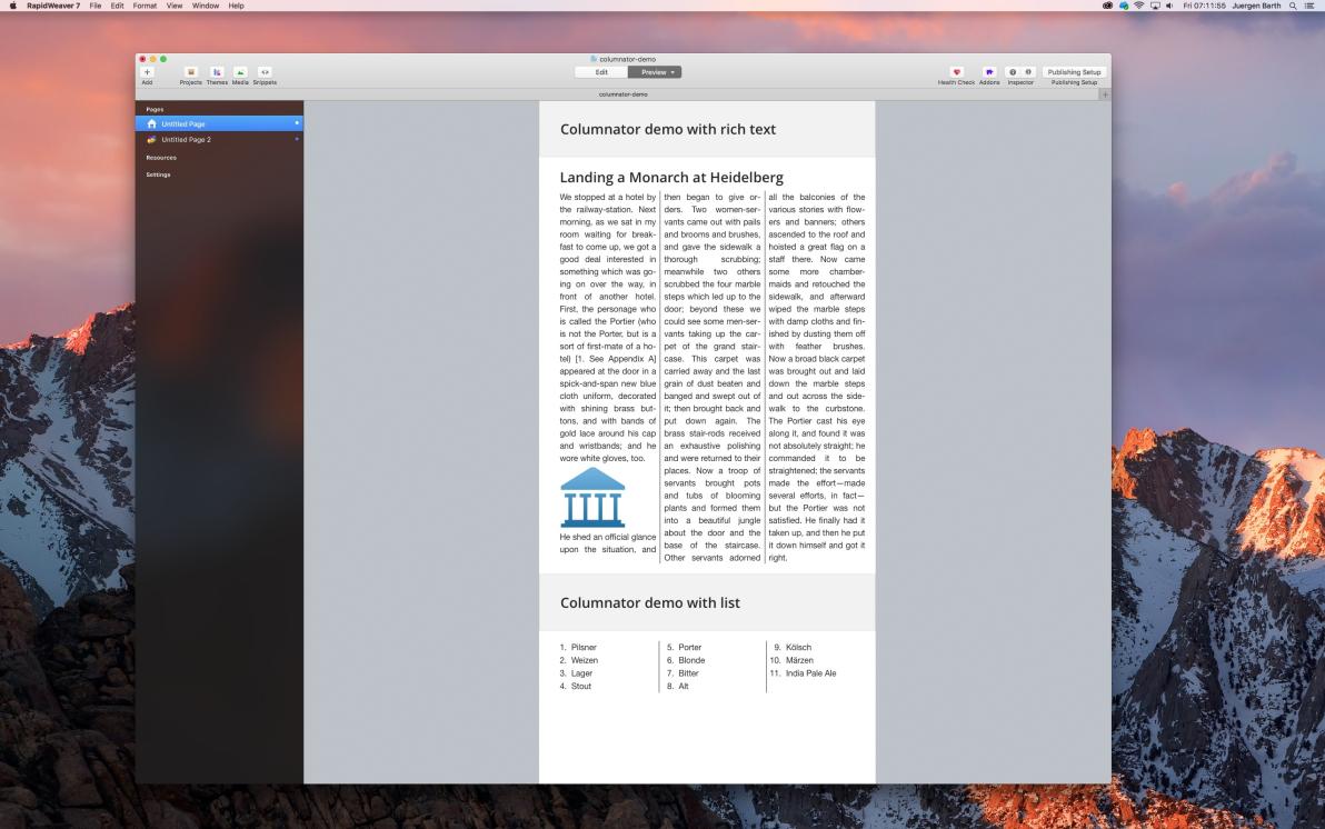 Columnator screenshot