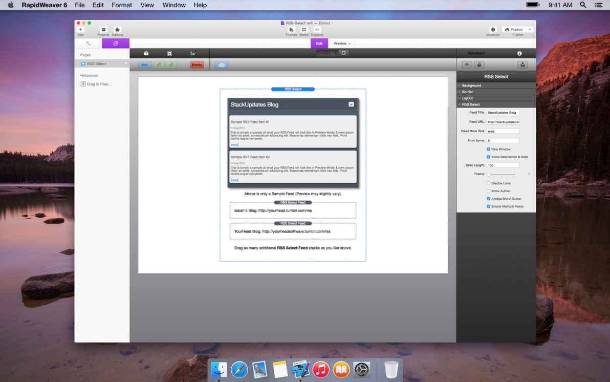 RSS Select screenshot