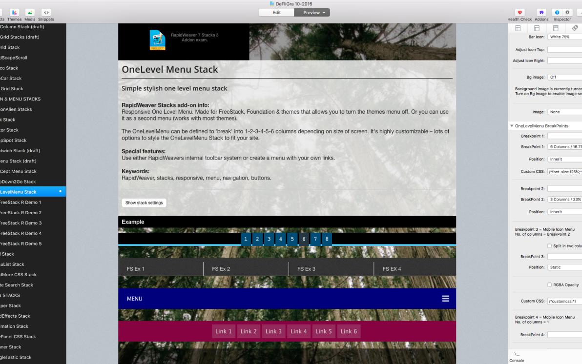 OneLevelMenu Stack screenshot