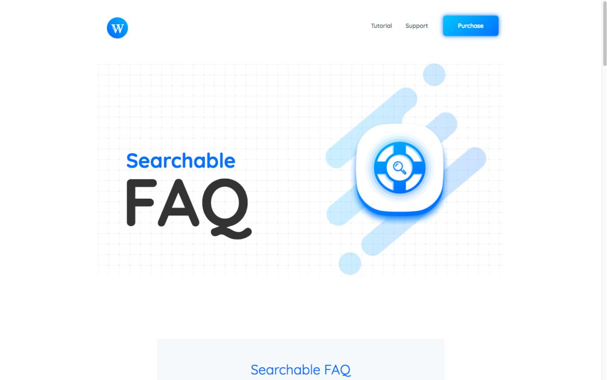 Searchable FAQ screenshot