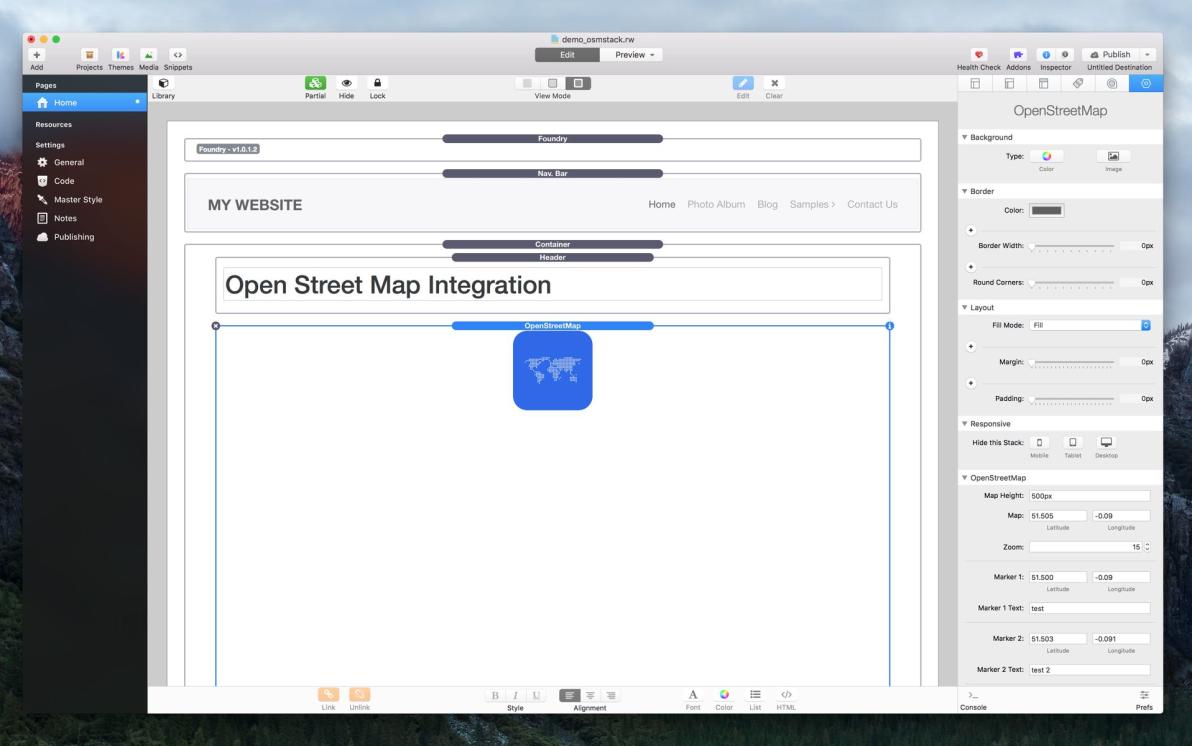 OpenStreetMap Stack screenshot