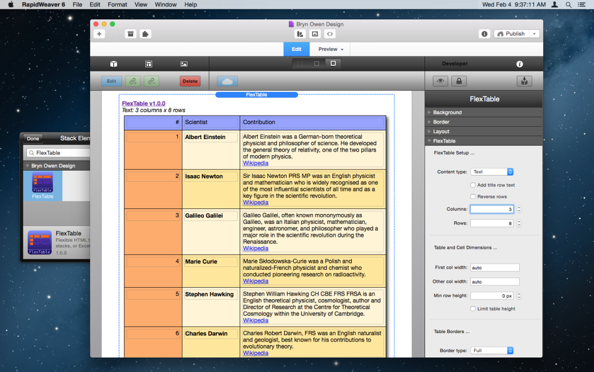 FlexTable Stack screenshot
