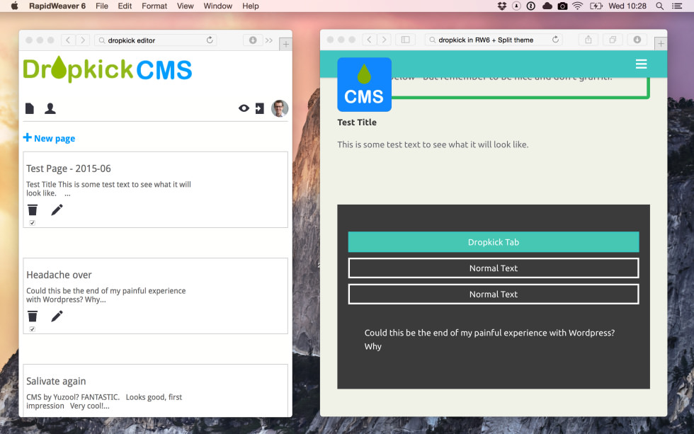 Dropkick CMS screenshot