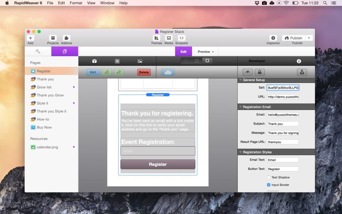 Register screenshot