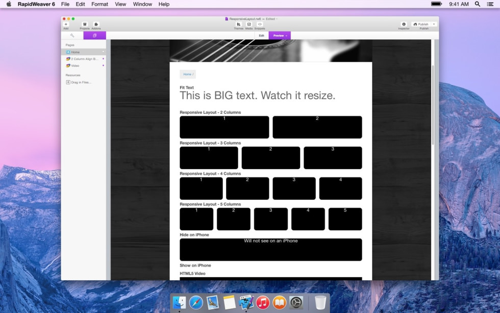 Responsive Layout screenshot