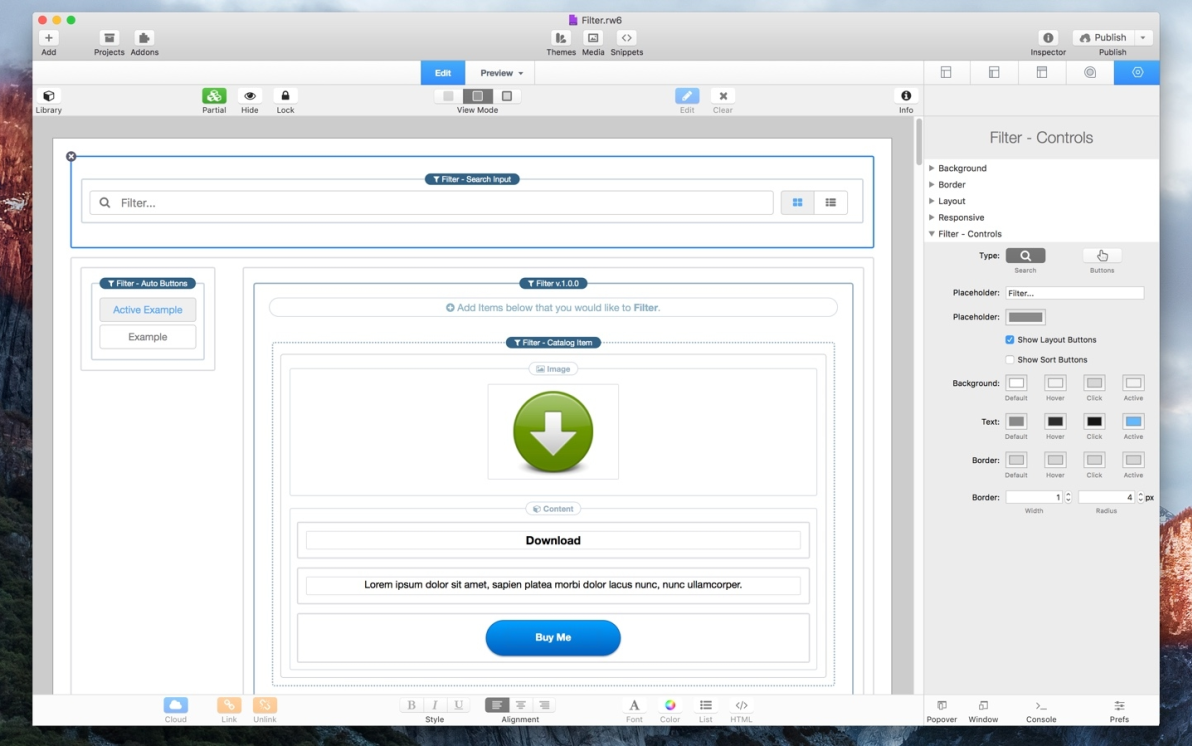 Filter screenshot