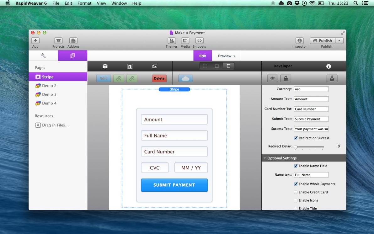 Stripe screenshot