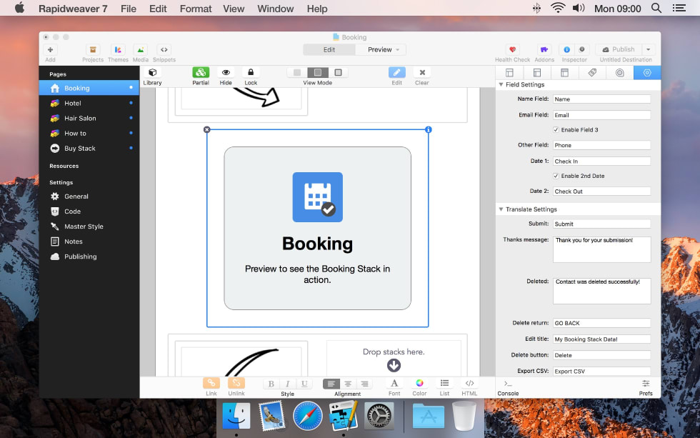 Booking RapidWeaver Stack by Yuzoolthemes — RapidWeaver