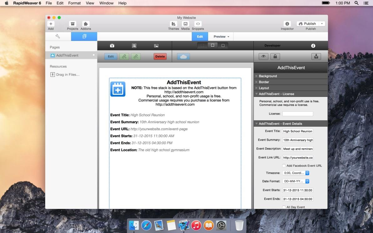 AddThisEvent screenshot