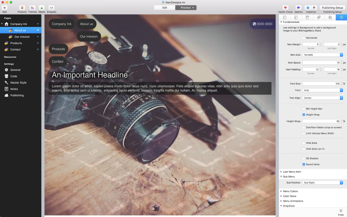 NAVI Stack screenshot