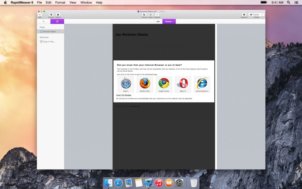 Browser Reject screenshot