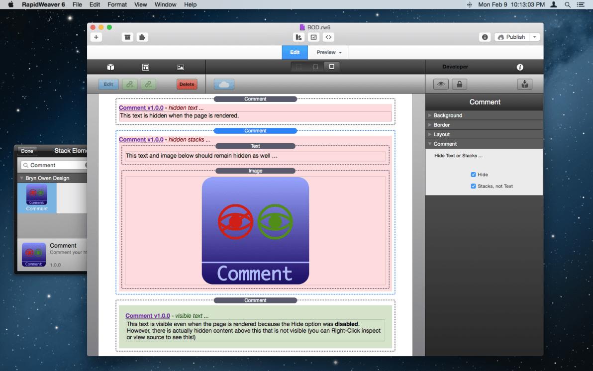 Comment Stack screenshot