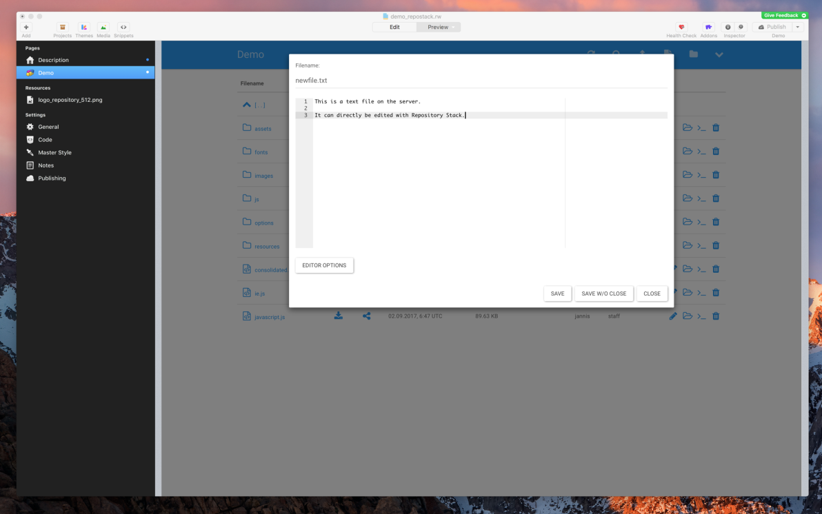 Repository Stack screenshot