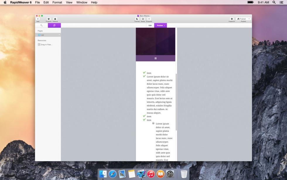 List screenshot