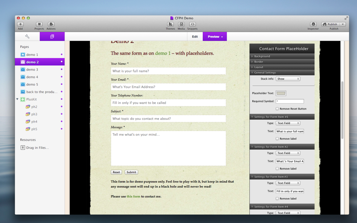Contact Form Placeholder Stack screenshot