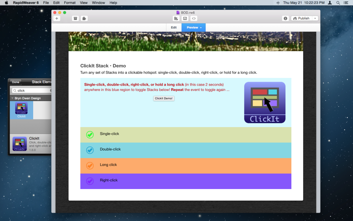 ClickIt Stack screenshot