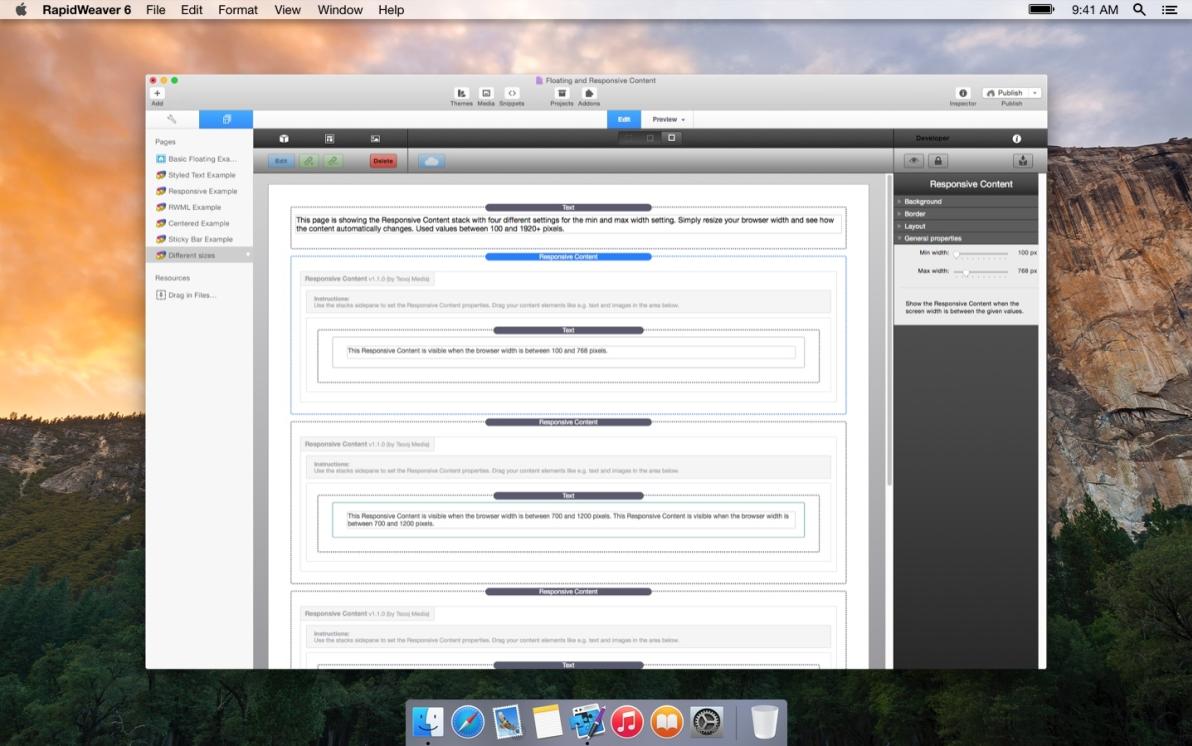 Responsive Content screenshot