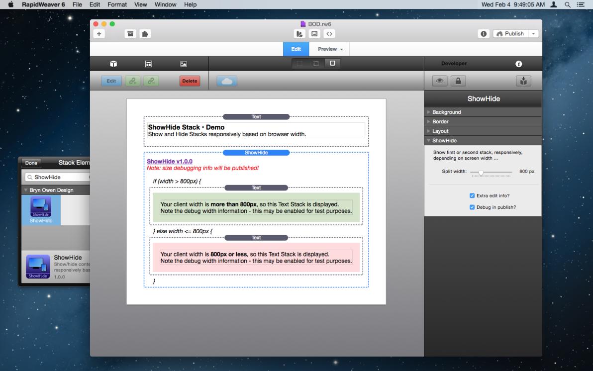 ShowHide Stack screenshot