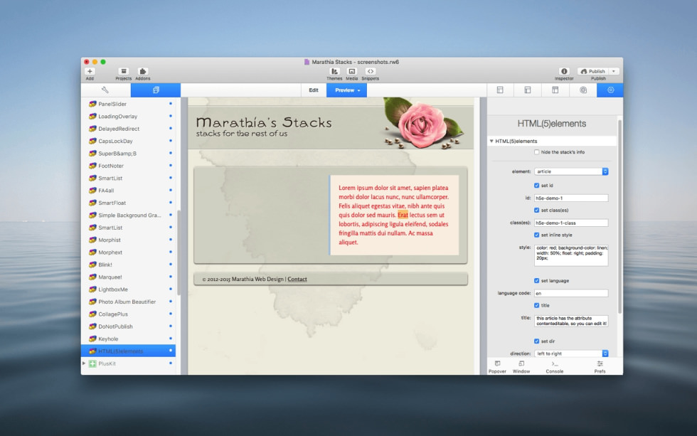 HTML(5)elements Stack screenshot
