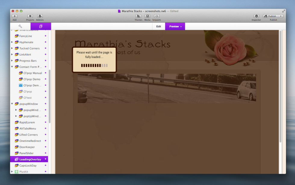 LoadingOverlay Stack screenshot