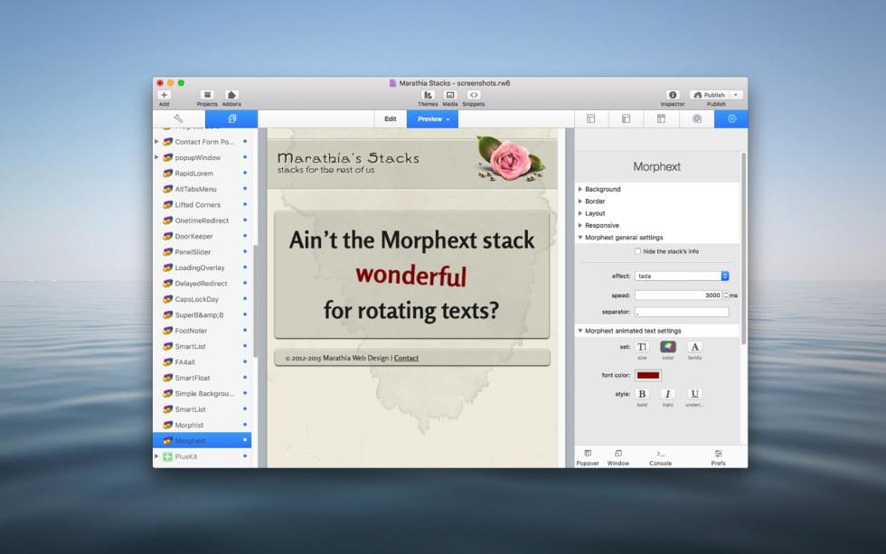 Morphext Stack screenshot