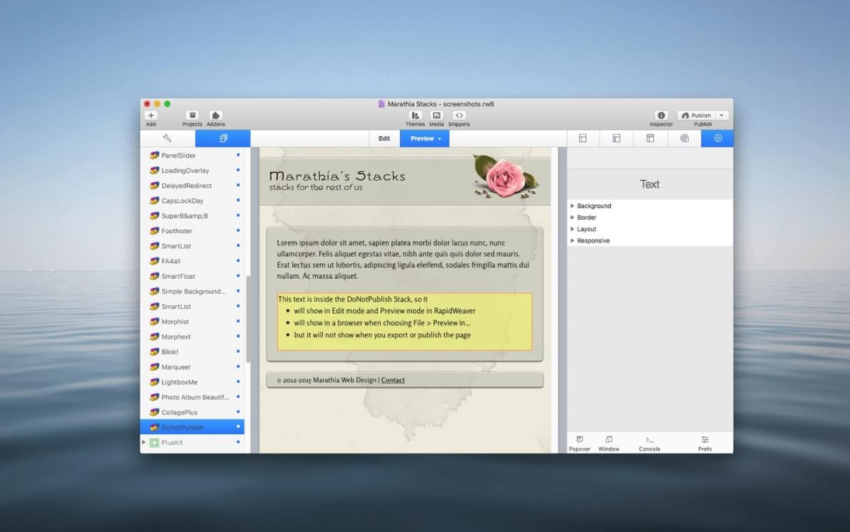 DoNotPublish Stack screenshot
