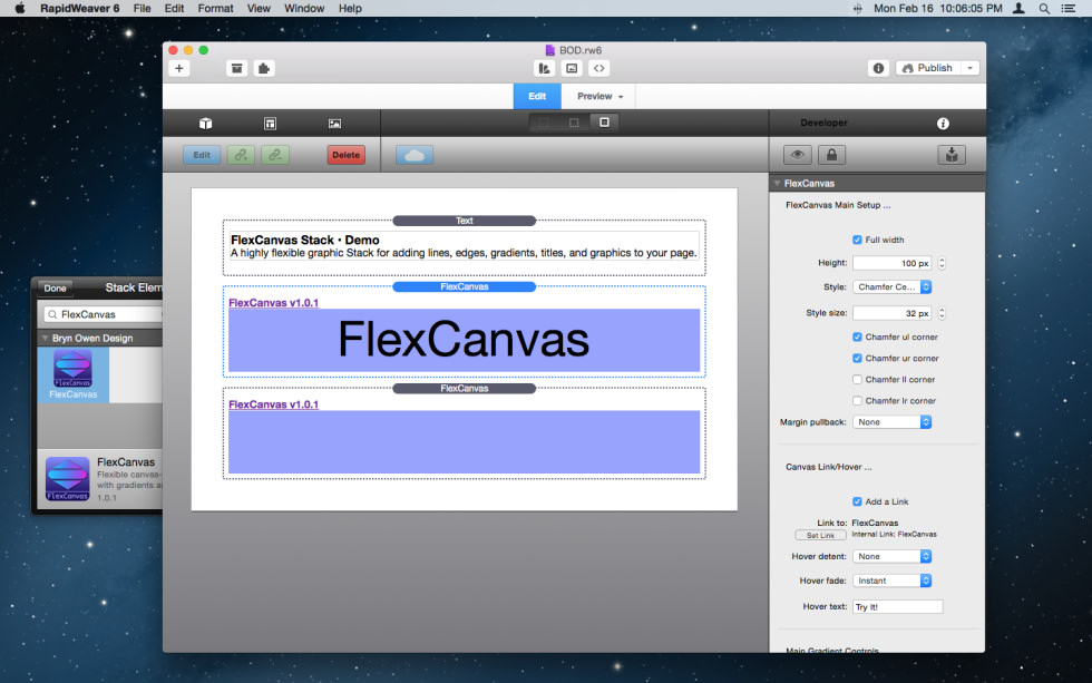 FlexCanvas Stack screenshot