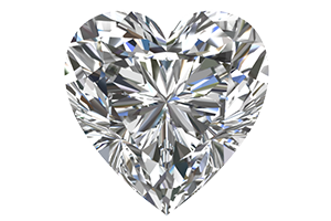 Image of a sparkling heart cut diamond with a black background