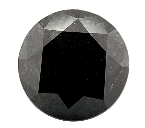 A black round cut diamond stands out against a plain white background