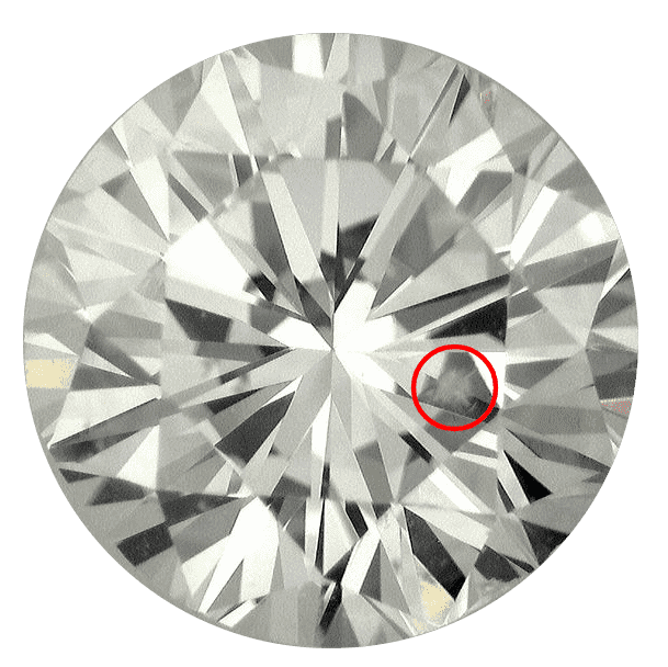 Round diamond showing a bruise inclusion that is circled in red