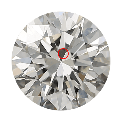 Round diamond with a small white dot called a pinpoint circled in red