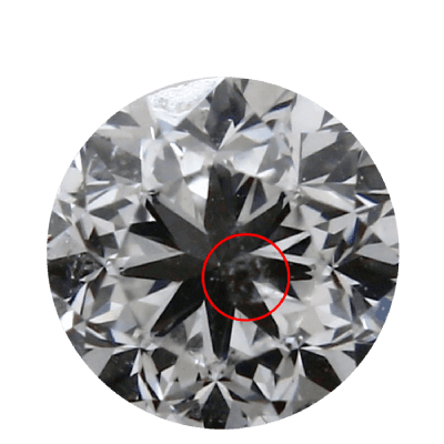 Photo of a round diamond with a red circle around a cluster of pinpoints called a cloud