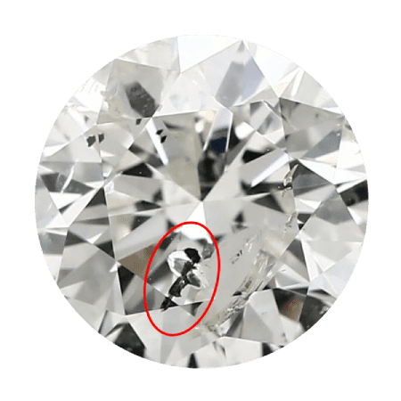 Round diamond with a red circle around a black crystal reaching the surface