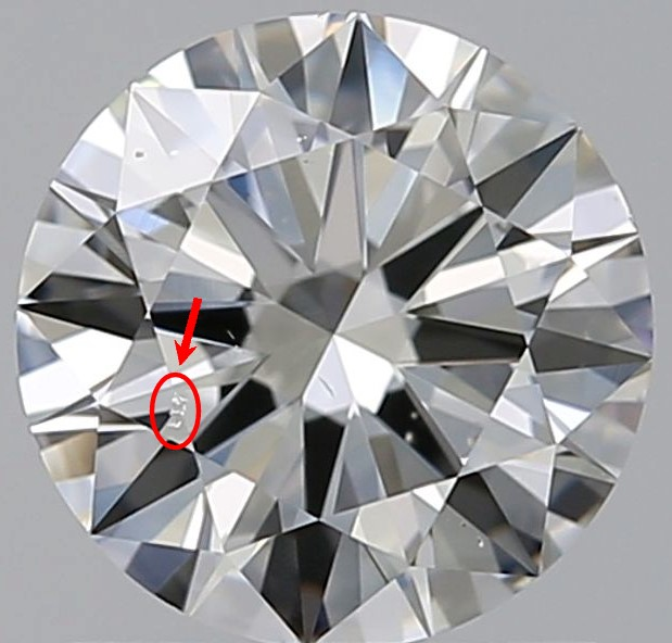 """Round diamond against a gray background with a red circle and arrow pointing to zigzag diamond """"etch channels"""""""