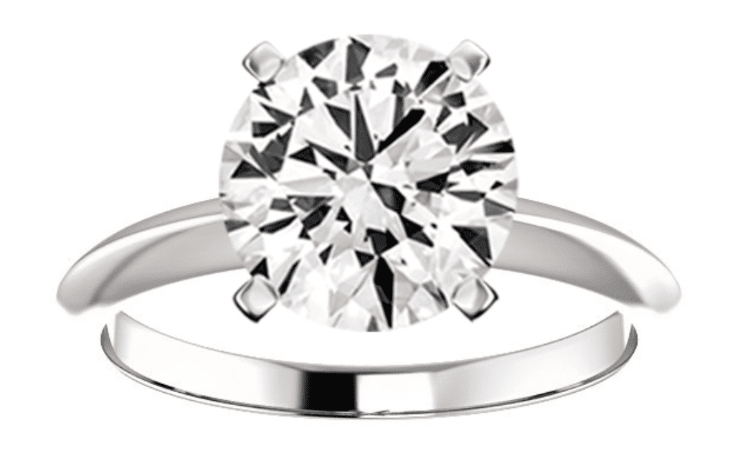 Round diamond in a solitaire ring