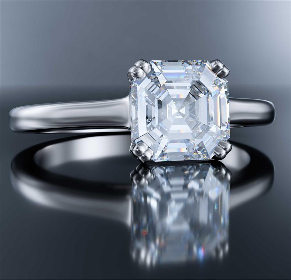 asscher diamond solitaire in white gold