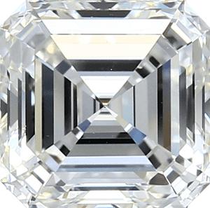 A square step-cut asscher diamond with cut corners shown against a white background