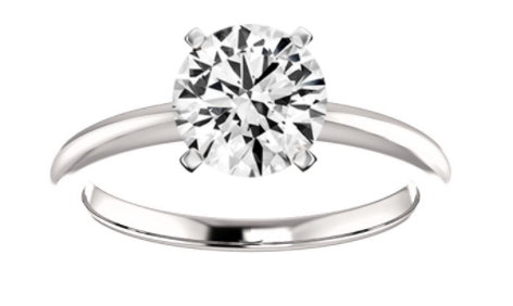 White diamond against a white background with a white gold or platinum metal