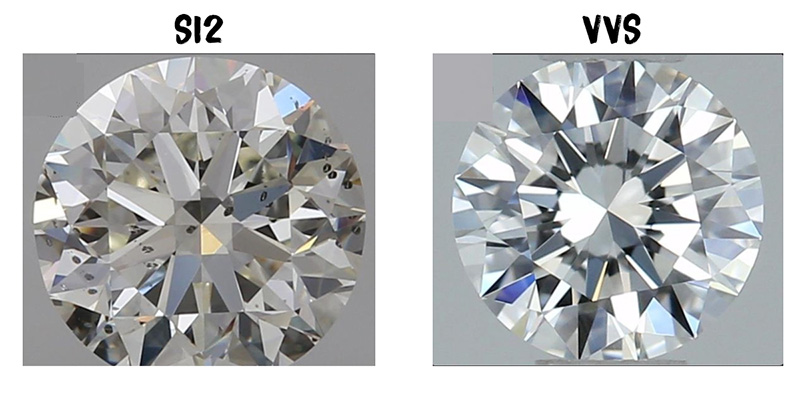 An SI2 diamond compared to a VVS1 diamond