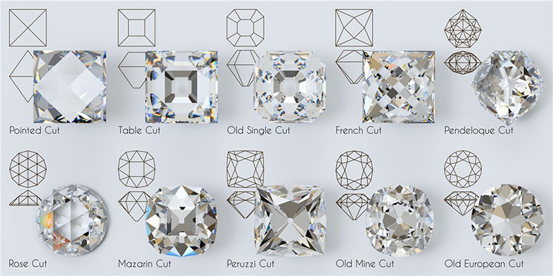 Old diamond cuts pictured: pointed, table, old square, french, pendeloque, rose, mazarine, peruzzi, old mine, old european