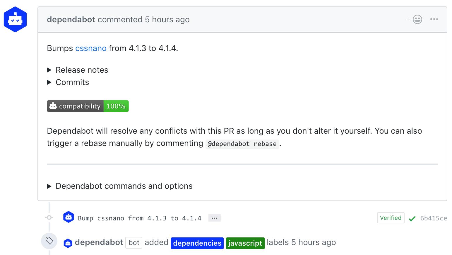 Screenshot Pull Requestu od Dependabota