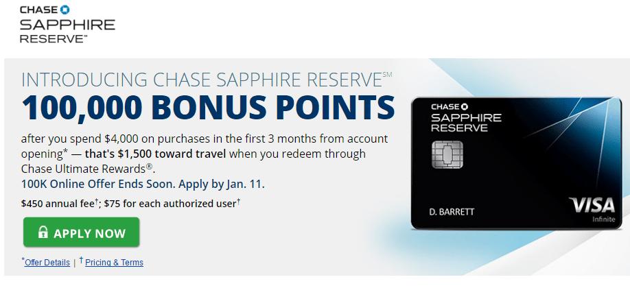 chase, sapphire reserve, 100k bonus
