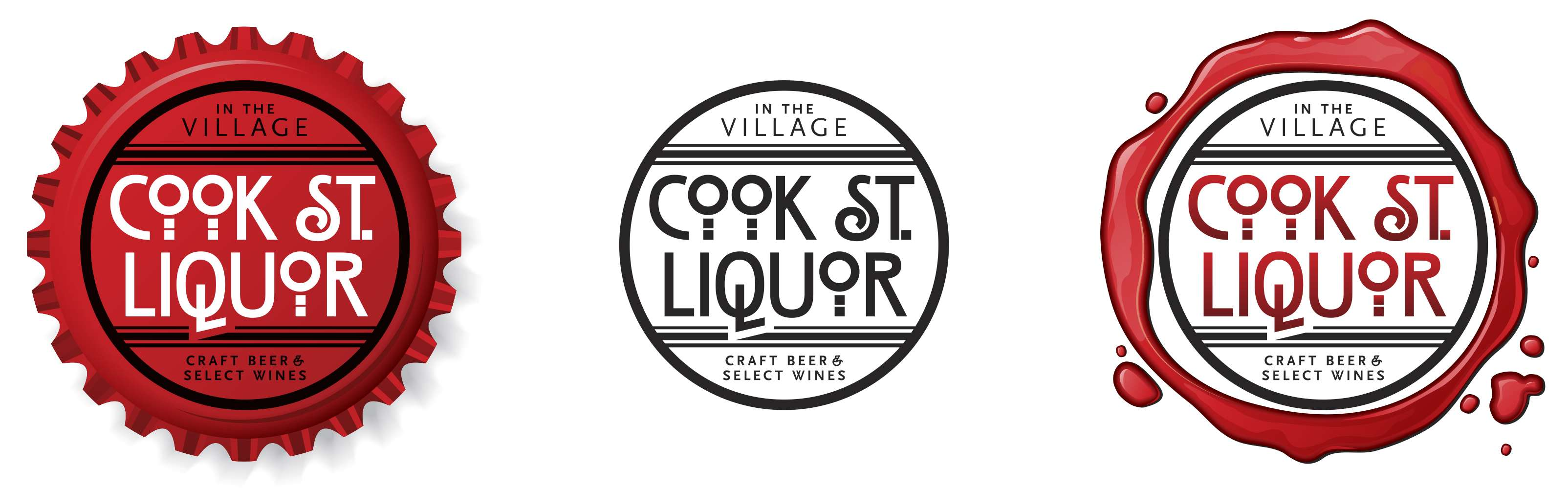 Cook Street Liquor logo family